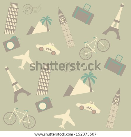 travel seamless background - stock vector
