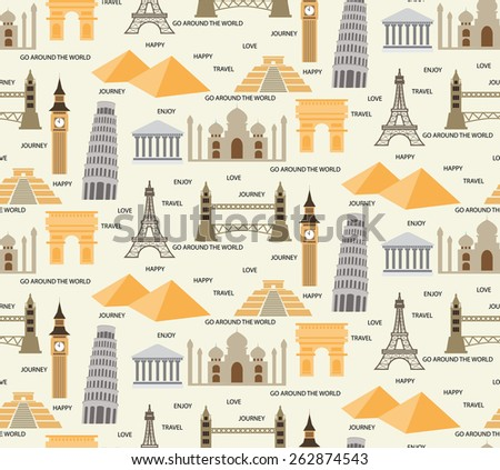 travel seamless pattern background,  world , tourist, image, Holidays and vacation. vector,  Pattern Swatches, Endless texture can be used for wallpaper, pattern fills, web page,background,surface - stock vector
