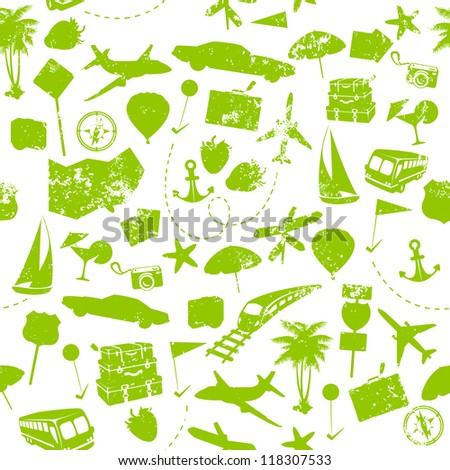 Travel seamless pattern on white background - stock vector