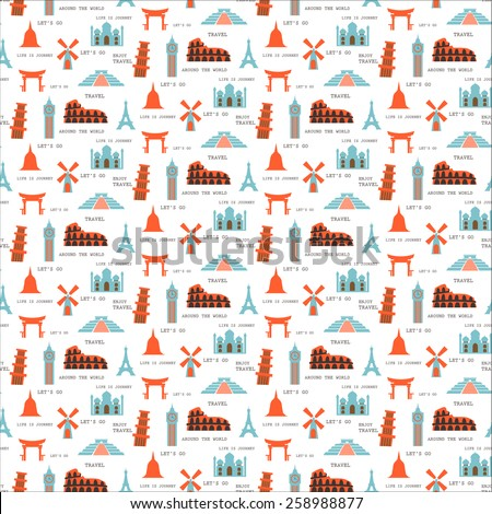 travel seamless pattern, Pattern Swatches, vector, Endless texture can be used for wallpaper, pattern fills, web page,background,surface - stock vector