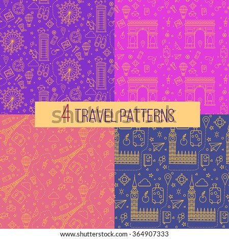 Travel Seamless Patterns Set: London and Paris. Vector backgrounds for decoration - stock vector