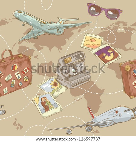 Travel seamless repeating pattern with plane, bag, camera and world map - stock vector