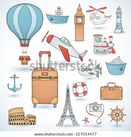 Travel set. Icons collection. - stock vector