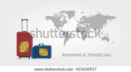 Travel SIM vector illustration with the world map on background. Roaming. Luggage.  - stock vector