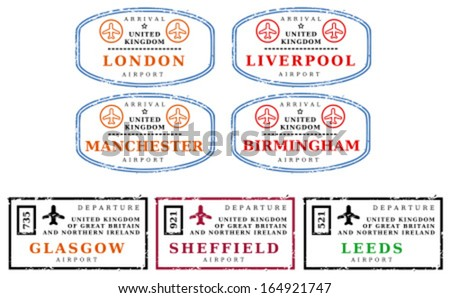 Travel stamps from United Kingdom (UK). Grungy scalable stamps (not real passport stamps). UK destinations: London, Liverpool, Manchester, Birmingham, Glasgow, Sheffield and Leeds. - stock vector