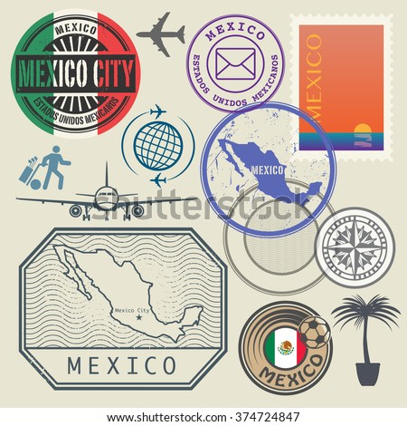 Travel stamps set, Mexico, vector illustration - stock vector