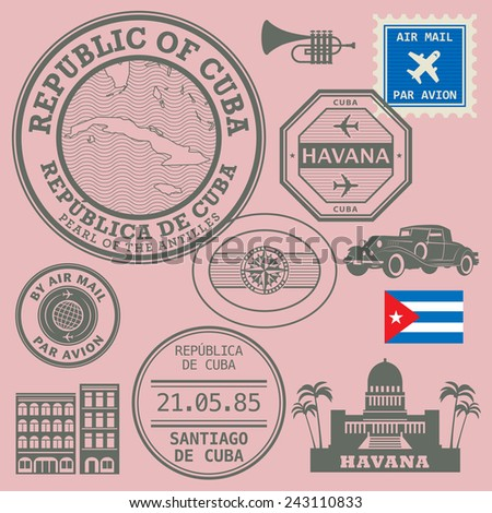 Travel stamps set, vector illustration - stock vector