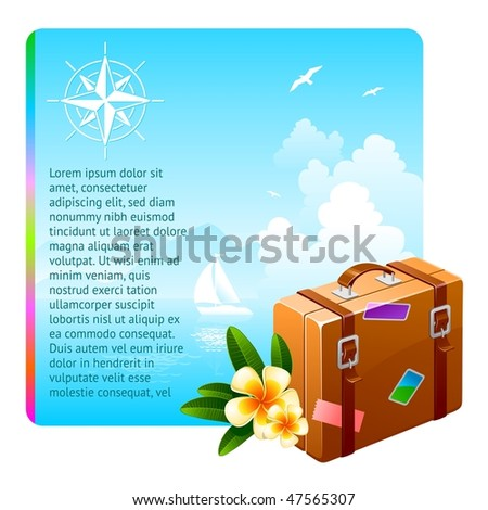 Travel suitcase and tropical flowers against an idyllic landscape - stock vector