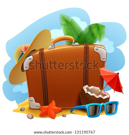 Travel suitcase icon - stock vector