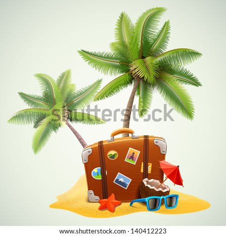 travel suitcase on beach with palms - stock vector