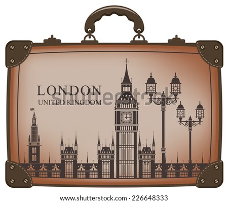Travel suitcase with flag of Britain and Big Ben - stock vector