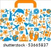 Travel suitcase with many colourful tourism and vacation icons - stock vector