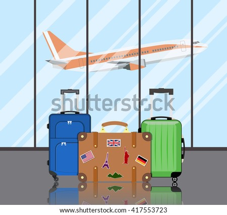 Travel suitcases in airport  - stock vector