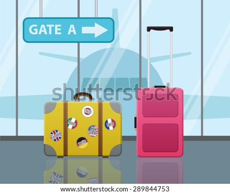 Travel suitcases in airport with a plane in background. Travel, Business trip concept. Modern Flat Design - stock vector
