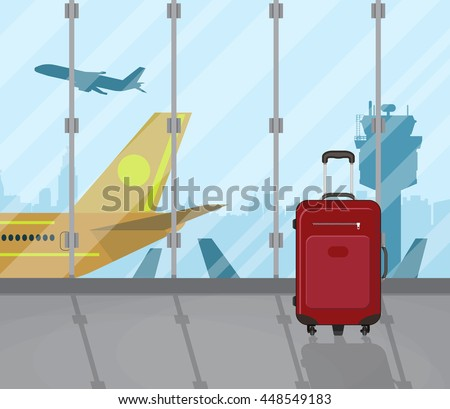 Travel suitcases inside of airport with a plane, control tower, cityscape in background. Travel, vacation, Business trip concept. Vector illustration in flat design. - stock vector