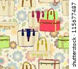 travel suitcases seamless illustration with floral patter,vector - stock vector