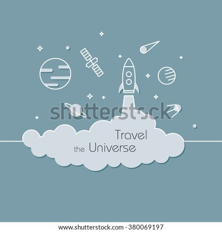 Travel the universe - vector illustration in line style. Rocket or spaceship in space, galaxy. Planet, meteorite and shuttle. Exploration concept  - stock vector