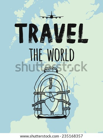 TRAVEL the world, map, airplane, backpack - stock vector