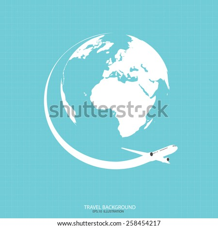 Travel the World Plane icon - stock vector