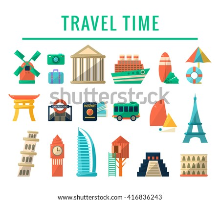Travel Time Items Collection Of Flat Vector Illustrations In Simple Bright Color Vector Design On White Background - stock vector