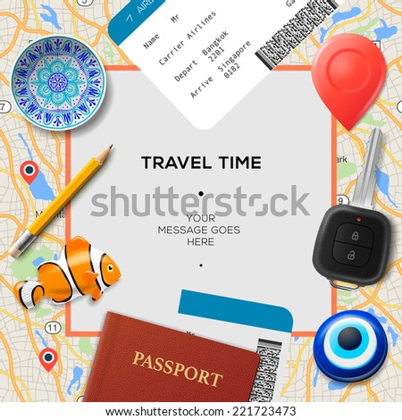 Travel time template. International passport, boarding pass, tickets with barcode, amulets and key on the map background, vector illustration.  - stock vector