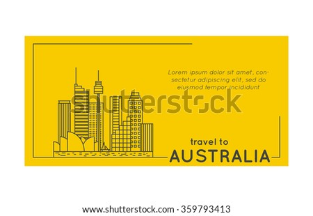 travel to australia quote style postcard. line flat modern vector illustration - stock vector