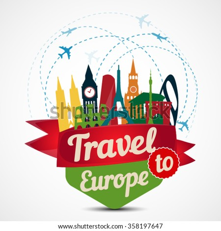 Travel to Europe. Famous European Buildings. Vector illustration, - stock vector