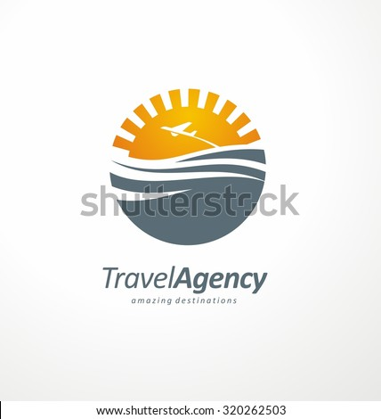 Travel to exotic destinations all around the world symbol template. Creative logo design concept with sun and ocean. Travel agency icon layout. Tourism and vacation theme. - stock vector