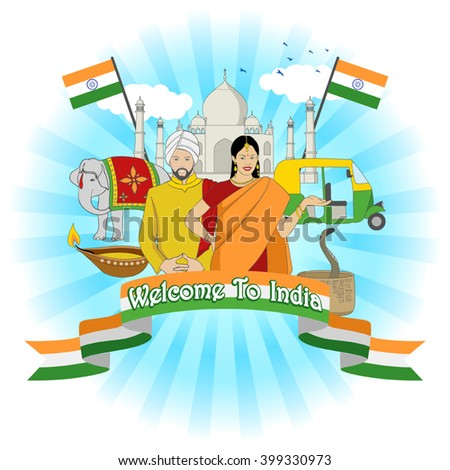 Travel to India symbol with famous landmark and cultural elements - stock vector