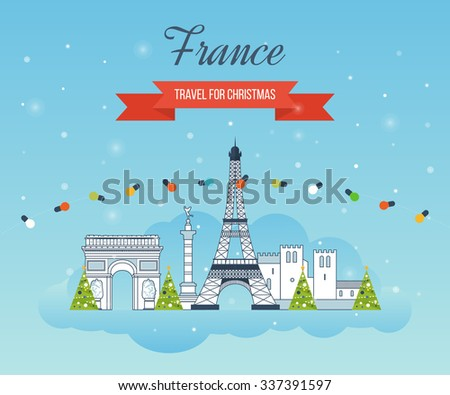 Travel to Paris for christmas. Cute invitation card with winter city life and space for text. Merry Christmas greeting card design. Paris Christmas winter. France Christmas and New Year. - stock vector