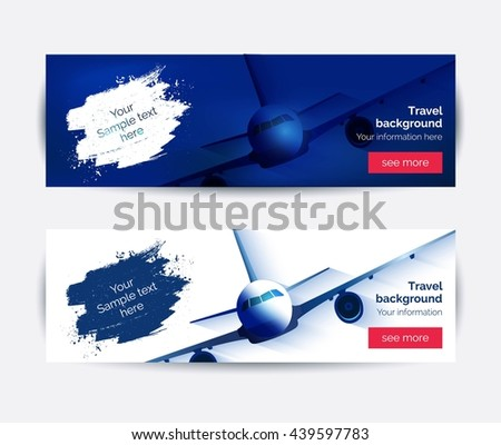 Travel to World Background. Trip to World. Tourism and travel concept.  Horizontal web travel banners. America, Asia, Europe. Travelling vector illustration.  - stock vector