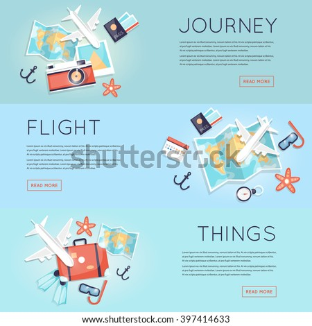 Travel to World. Trip plan. Planning a summer vacation, tourism and journey. Summer travel. Map and a set of things for travel top view. Hop on a plane. Flat vector web banners. - stock vector
