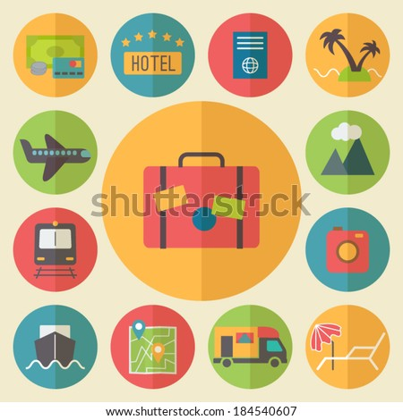 Travel, tourism and vacation icons set, flat design vector. - stock vector