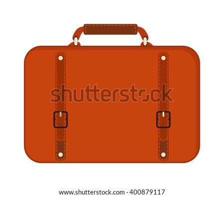 Travel tourism fashion red bag and vacation handle travel red bag. Travel bag leather big packing and voyage big bag destination. Travel red fashion bag on wheels. Journey suitcase travel bag trip - stock vector