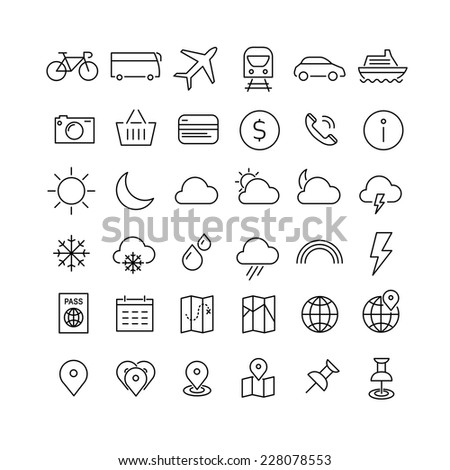 Travel, tourism, hotel and weather icons, set 1 - stock vector