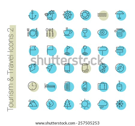 Travel, tourism, hotel and weather icons, set 2 - stock vector