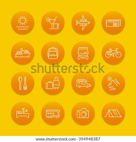 Travel, tourism line icons, recreation, trip, tour, journey pictograms, round icons, vector illustration - stock vector