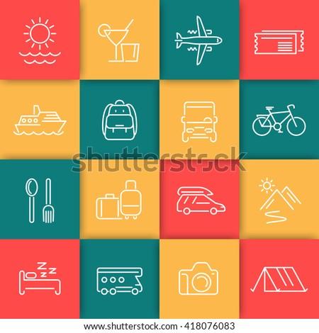Travel, tourism line icons set, recreation, trip, tour, journey linear pictograms, icons on color squares, vector illustration - stock vector