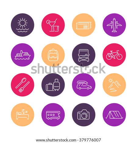 Travel, tourism line icons, trip, recreation, vacation color icons set, vector illustration - stock vector