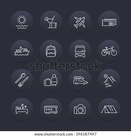 Travel, tourism, trip, tour line icons set, vector illustration - stock vector