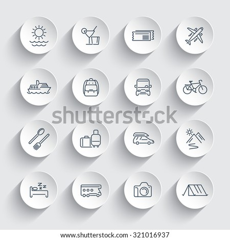 Travel, tourism, trip, vacation, cruise line round icons pack, vector illustration - stock vector