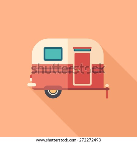 Travel trailer flat square icon with long shadows. - stock vector