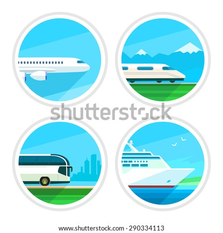 Travel transport icons collection on white background - stock vector