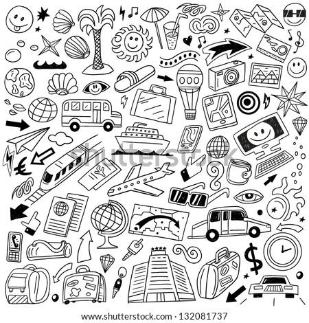 Travel,transportation - doodles set - stock vector