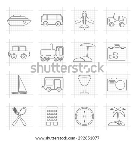 Travel, transportation, tourism and holiday icons - vector icon set - stock vector