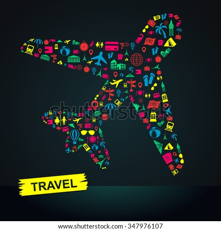 Travel transportation tourism and landmark infographic banner template layout background badge in plane flight trip leisure icon, create by vector - stock vector