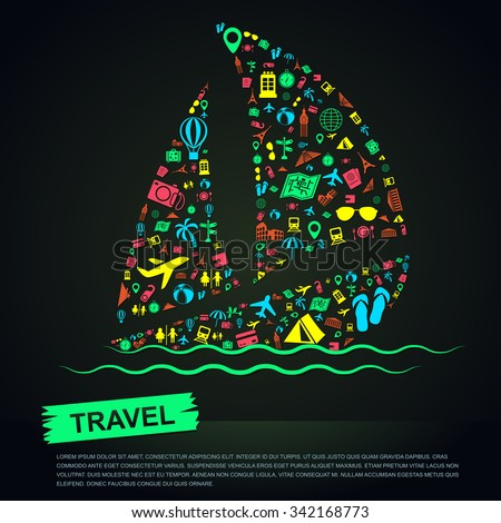 Travel transportation tourism and landmark vacation infographic banner template layout background badge in sailboat sea trip leisure icon, create by vector - stock vector