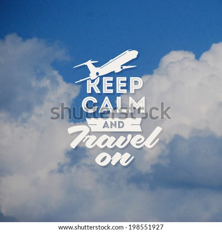 Travel type design with clouds background - stock vector