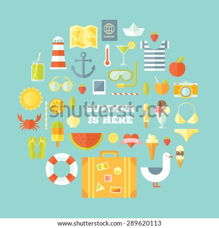 Travel vacation modern style flat design set. Vector concept illustration. Summer tourism, planning the journey, travel objects, passenger luggage and equipment. Objects colorful collection. - stock vector