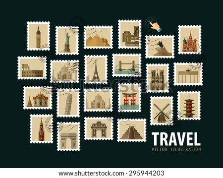 travel, vacation vector logo design template. postage stamp or historic architecture of the world icons - stock vector